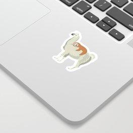 Cute & Funny Sloth Sleeping on Llama Sticker