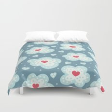 Winter Hearts And Snowy Clouds Duvet Cover