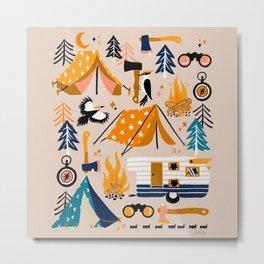 Camping Kit – Orange & Blue Metal Print