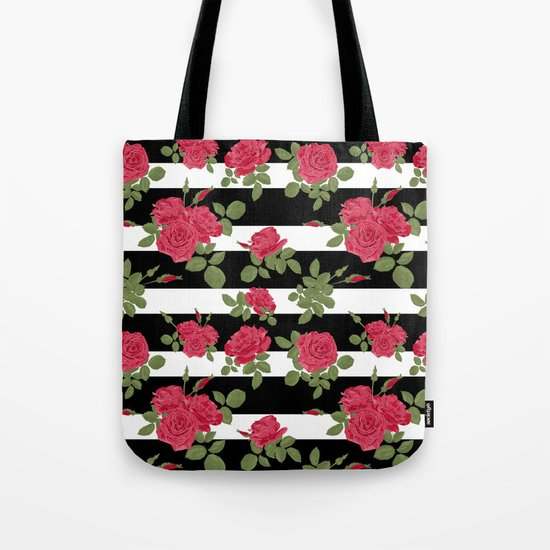 Red roses with horizontal stripes black white Tote Bag