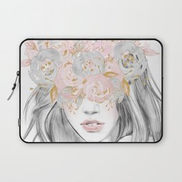 She Wore Flowers in Her Hair Rose Gold by Nature Magick Laptop Sleeve