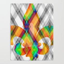 Fleur De Lis Diamond Pattern Poster