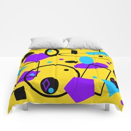 Retro abstract print yellow Comforters