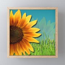 Sunflowers & Grassy Field Nature Design Framed Mini Art Print