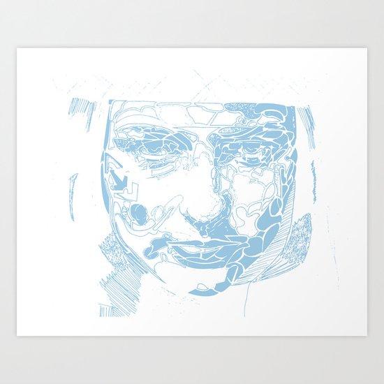 facial shapes - blue Art Print