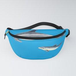 Bottlenose dolphin blue background Fanny Pack
