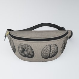 Row o' Brains - Engraving - Vintage - Old Black, White & Brown Fanny Pack