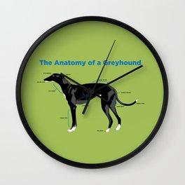 The Anatomy of a Greyhound- Black Wall Clock