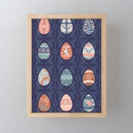 Ornate Easter Eggs on Blue Framed Mini Art Print