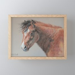 PONY Brown Horse portrait Pastel drawing Cute Foal Colt Baby Horse Framed Mini Art Print