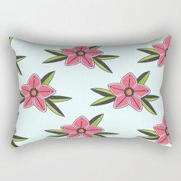 Old school tattoo flower pattern in blue Rectangular Pillow