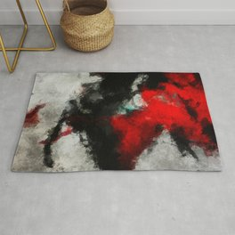 Black and Red Abstract Art Rug
