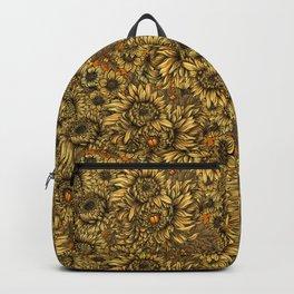 Yellow chrysanthemum flowers and orange bettles Backpack