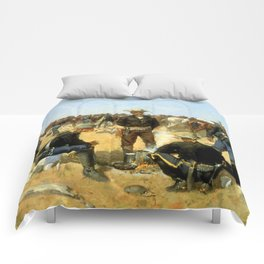 "Frederic Remington Western Art ""Cavalryman's Breakfast"" Comforters"