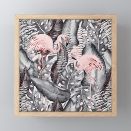 Flamingo Love - Watercolor Birds in Pink and Gray color Framed Mini Art Print