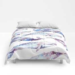 Watercolor Whales Comforters