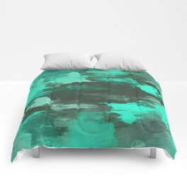 Chill Factor - Abstract cyan blue painting Comforters