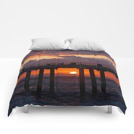 Sunset Huntington Beach Pier  Comforters