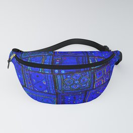 17 - Blue and White Geometric Orintal Moroccan Artwork Fanny Pack