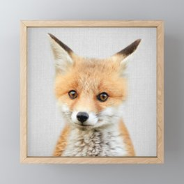 Baby Fox - Colorful Framed Mini Art Print