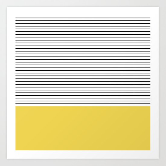 MINIMAL Green Stripes Art Print