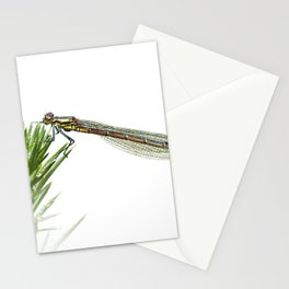 Damselfly resting on green plant Stationery Cards