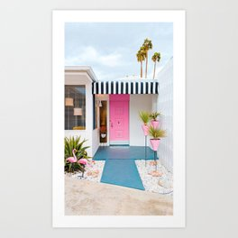 Cute Pink Door with Yard Flamingos in Palm Springs Art Print