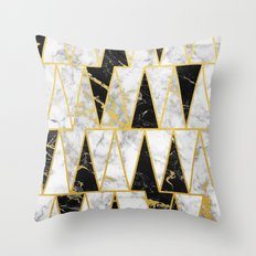 Mixed Marble Triangles // Gold Flecked Black & White Marble Throw Pillow