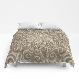 Beige swirl mandala Comforters