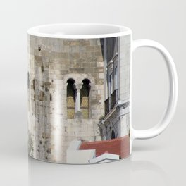 Lisbon Cathedral Detail, Facade Windows, Romanesque Architecture, Portugal Coffee Mug