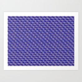 Blue and Gold Zig Zag Weave Art Print