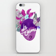 Je T'aime Typography  iPhone & iPod Skin