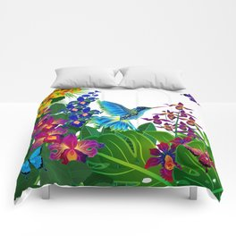 Tropical Hummingbird Pattern 1 Comforters
