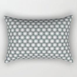 White Polka Dots and Circles Pattern on PPG Night Watch Pewter Green Rectangular Pillow