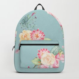 Spring Bouquet Wreath Duck Egg Blue Floral Print Backpack