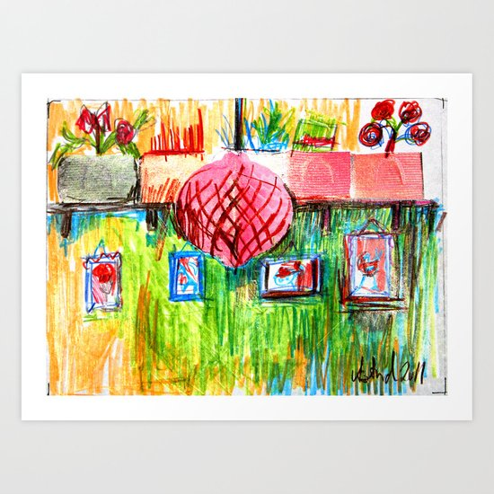 red lamp and shelf Art Print