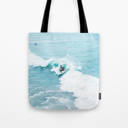 Wave Surfer Turquoise Tote Bag