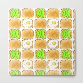 Toast pattern // Avocado toast // Egg toast // Breakfast pattern  Metal Print