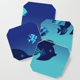 Nine Blue Fish with Patterns Coaster