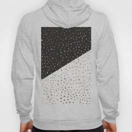 Speckled Rose Gold Flakes on Black White Geometric Hoody