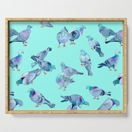 Flock of Pigeons (Blue) Serving Tray