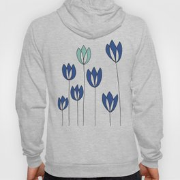 Drawing of Blue and Aqua Whimsical Tulips by Emma Freeman Designs Hoody