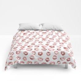 Girly Fashion Lips Rose Gold Lipstick Pattern Comforters