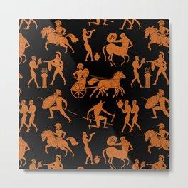 Greek Figures // Orange & Black Metal Print