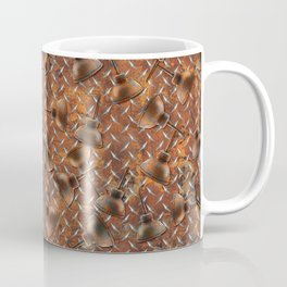 Oil Cans on Distressed Diamond Plate Coffee Mug