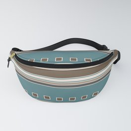 Squares and Stripes in Brown and Teal Fanny Pack