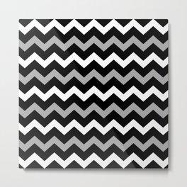 Black White & Grey Chevron Print Pattern Metal Print