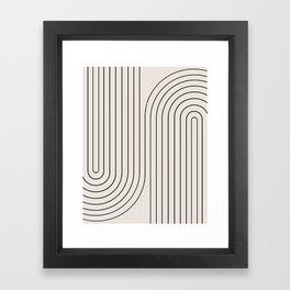 Minimal Line Curvature - Black and White I Framed Art Print