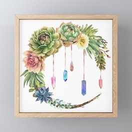 Crystal Crescent Moon With Lovely Succulents Framed Mini Art Print