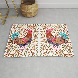 Le Coq – Watercolor Rooster with Sepia Leaves Rug